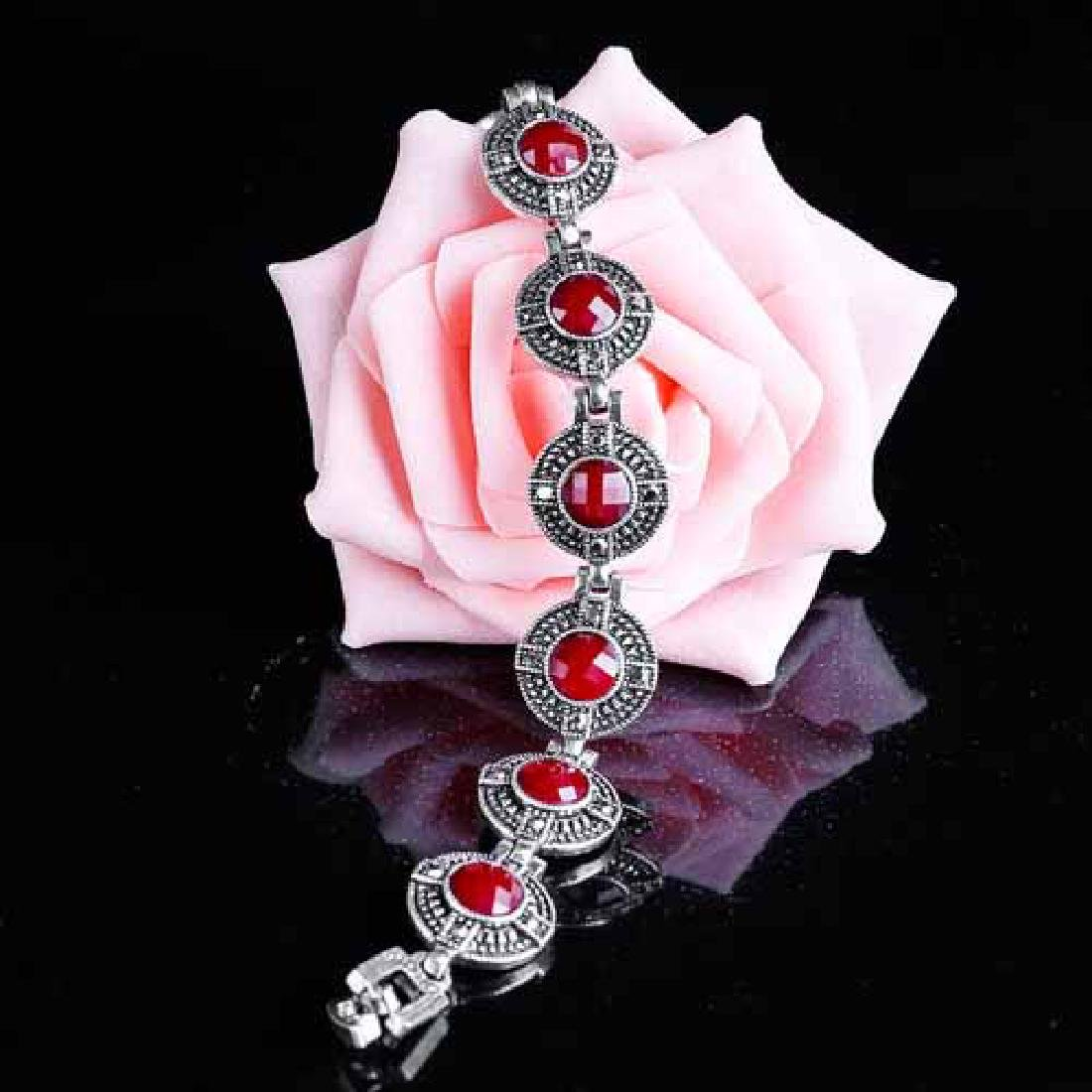 CREATED CHECKERBOARD RED STONE GERMAN SILVER BRACELET