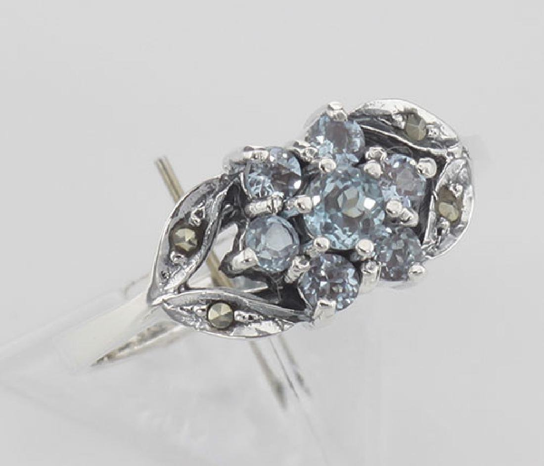 Beautiful Blue Topaz Marcasite Ring - Flower Design - S