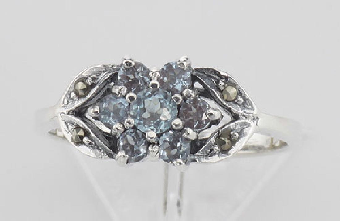 Beautiful Blue Topaz Marcasite Ring - Flower Design - S - 2