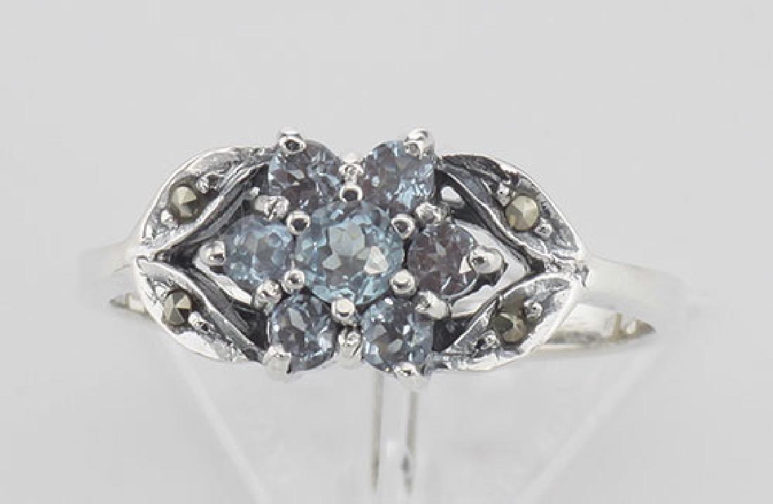 Beautiful Blue Topaz Marcasite Ring - Flower Design - S - 2