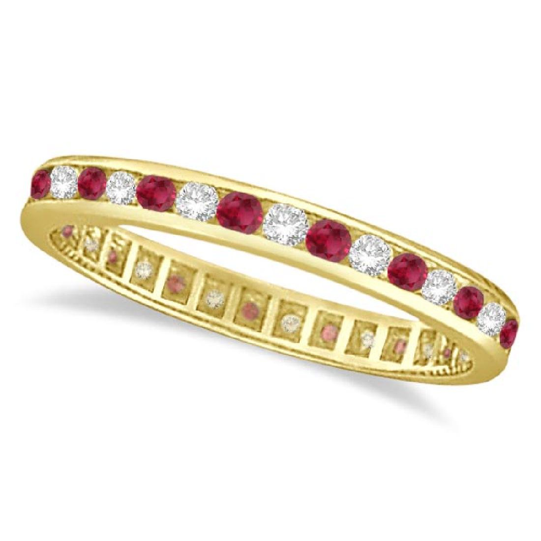 1.04ct Ruby and Diamond Channel Set Ring Eternity Band