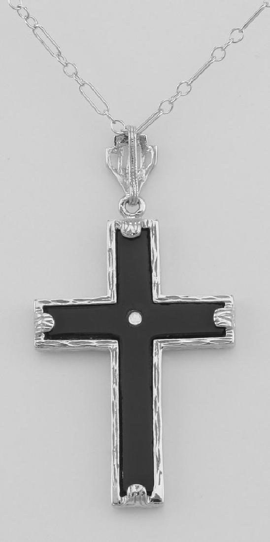 Beautiful Black Onyx Cross with Diamond Accent Center - - 2