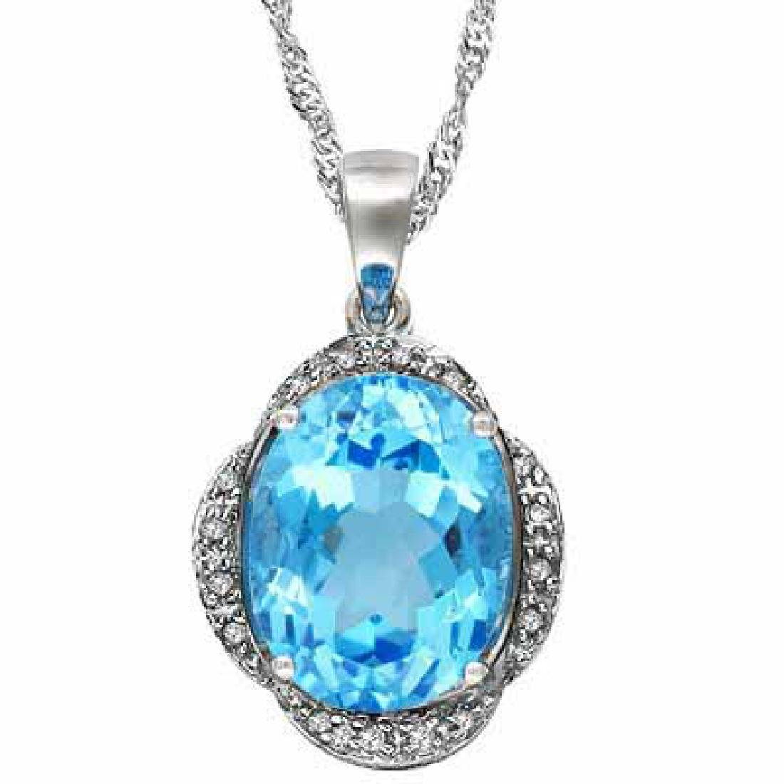 5 1/4 CARAT BABY SWISS BLUE TOPAZ & DIAMOND 925 STERLIN