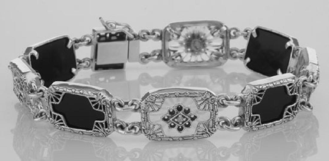 Victorian Style Bracelet Onyx / Camphor Glass Diamond S