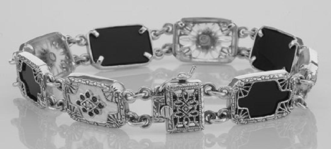 Victorian Style Bracelet Onyx / Camphor Glass Diamond S - 2