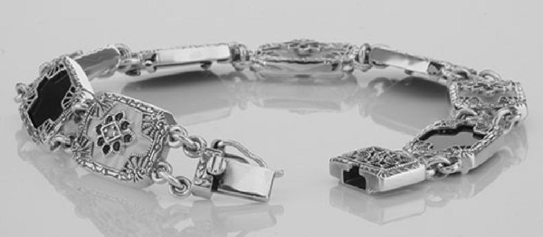Victorian Style Bracelet Onyx / Camphor Glass Diamond S - 3