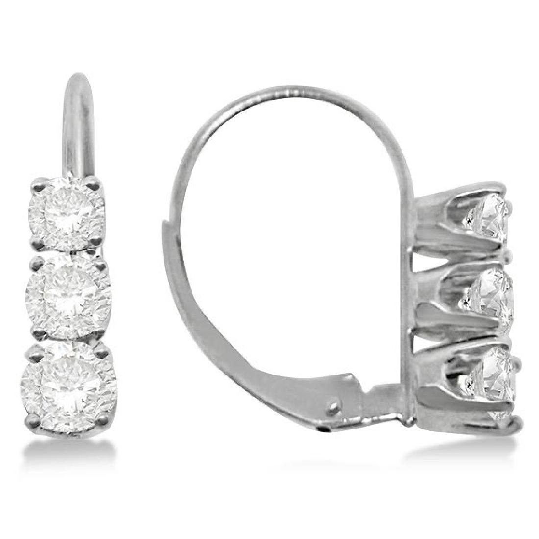 Three-Stone Leverback Diamond Earrings 14k White Gold (