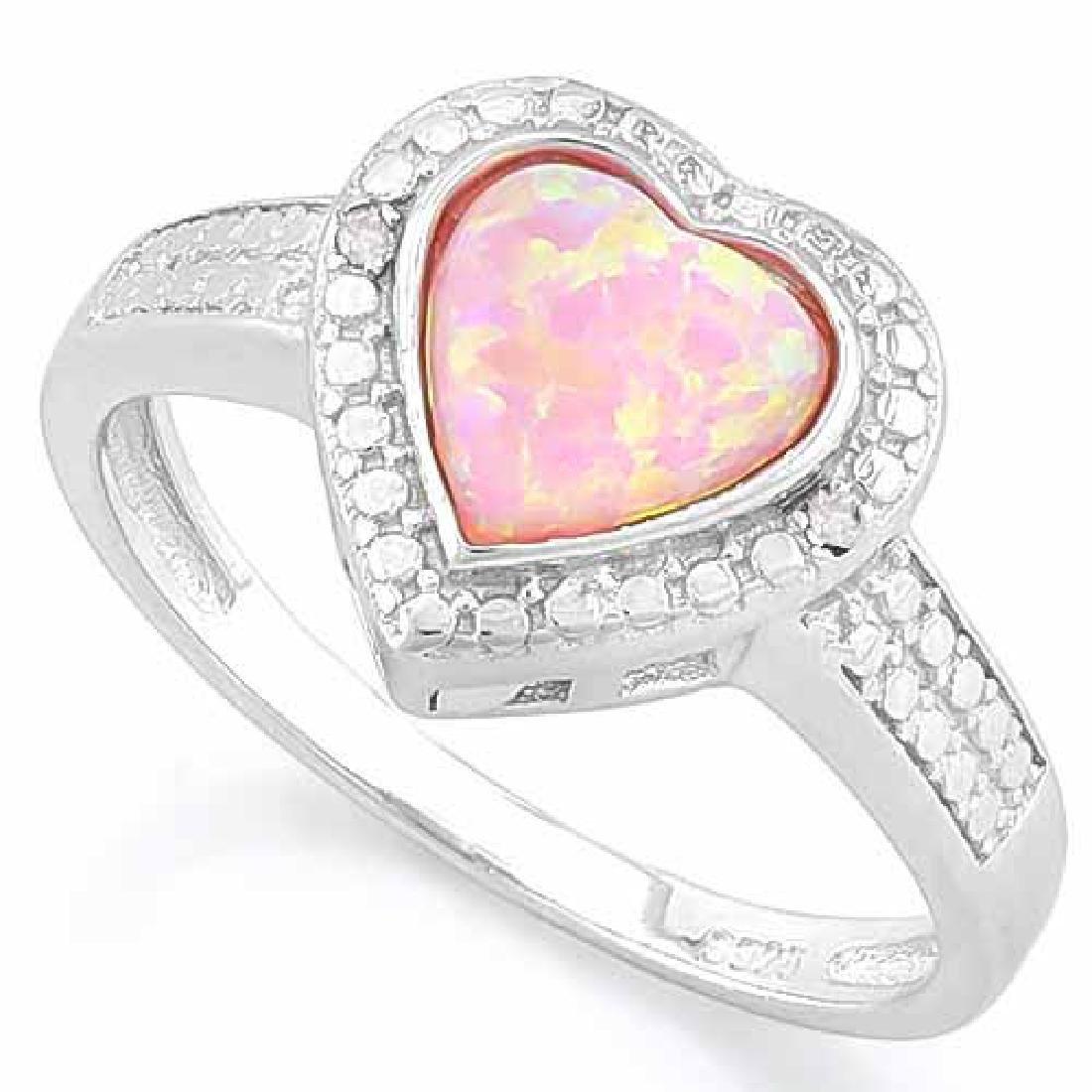 3/5 CARAT CREATED RAINBOW OPAL & DIAMOND 925 STERLING S