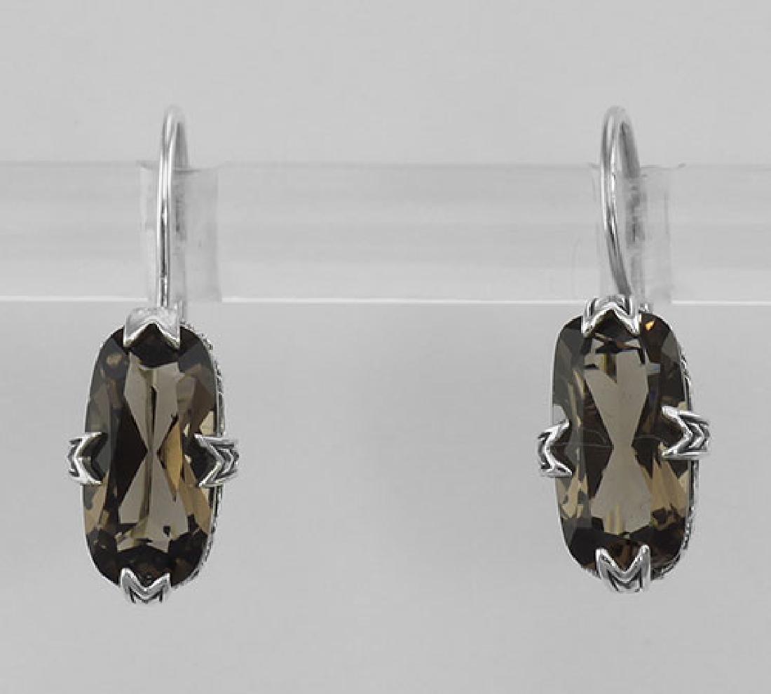 Smoky Topaz Filigree Earrings - Sterling Silver