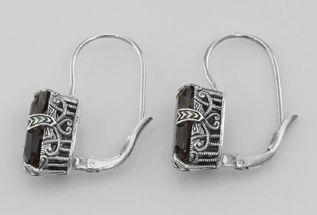 Smoky Topaz Filigree Earrings - Sterling Silver - 2