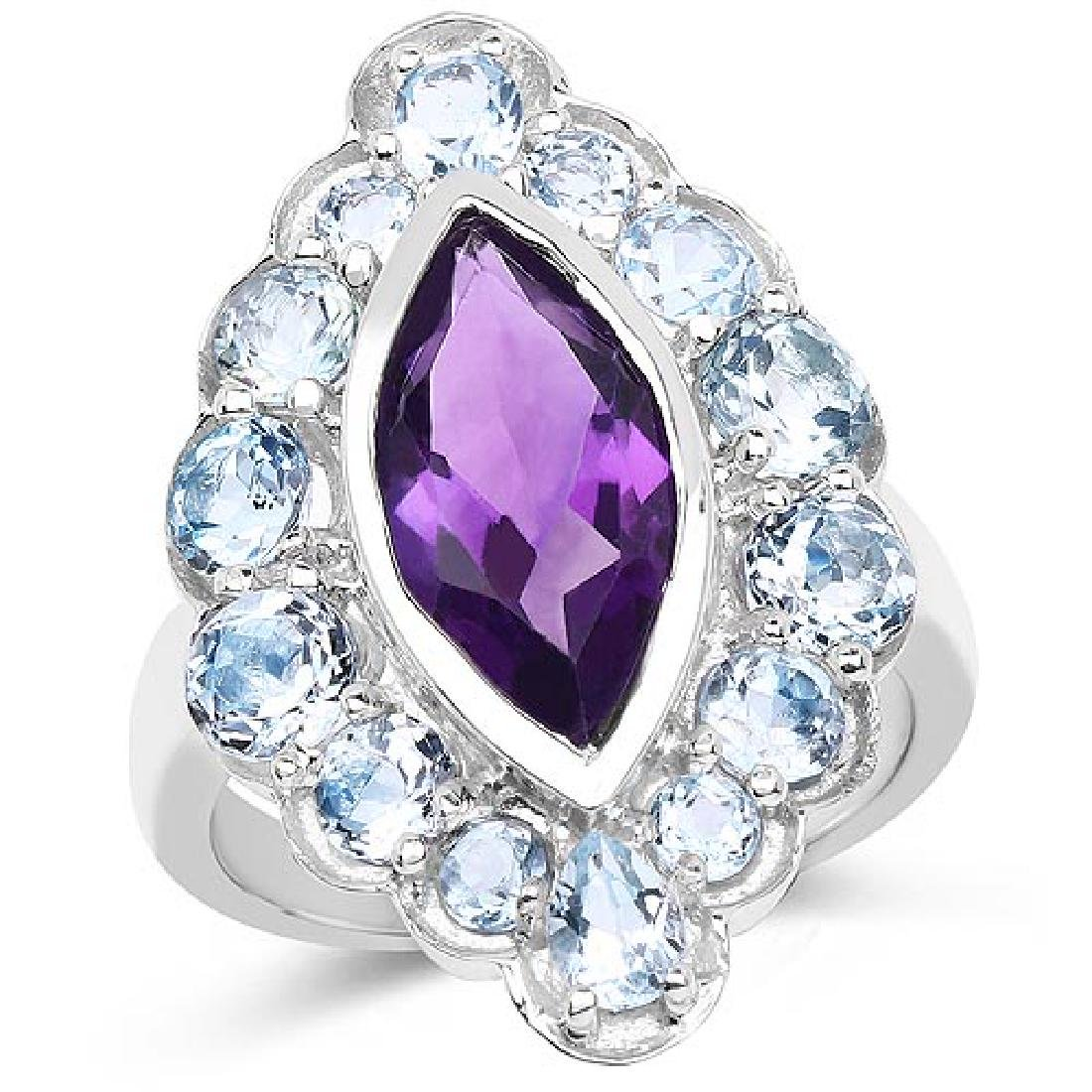 5.30 Carat Genuine Amethyst and Blue Topaz .925 Sterlin