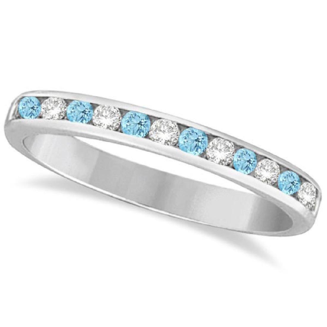 Aquamarine and Diamond Semi-Eternity Channel Ring 14k W