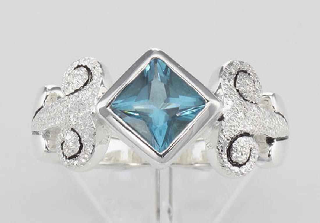 Stunning Genuine Princess Cut Blue Topaz Ring - Sterlin - 2