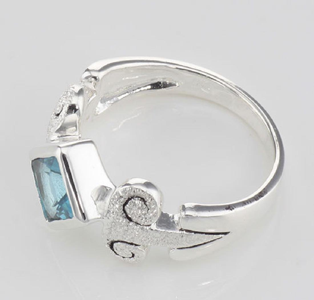Stunning Genuine Princess Cut Blue Topaz Ring - Sterlin - 3