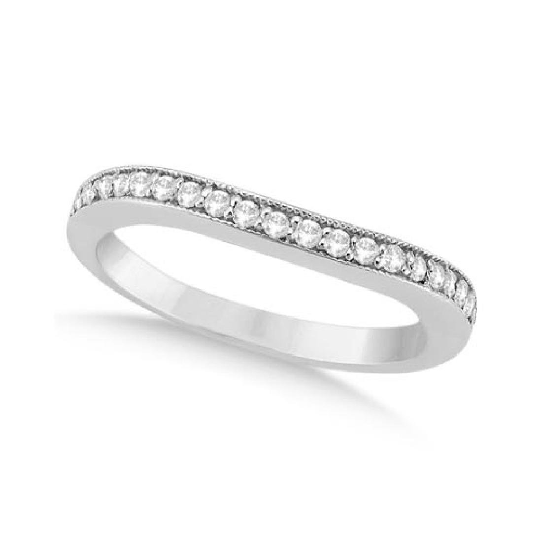 Curved Diamond Wedding Band 14k White Gold (0.22ct)