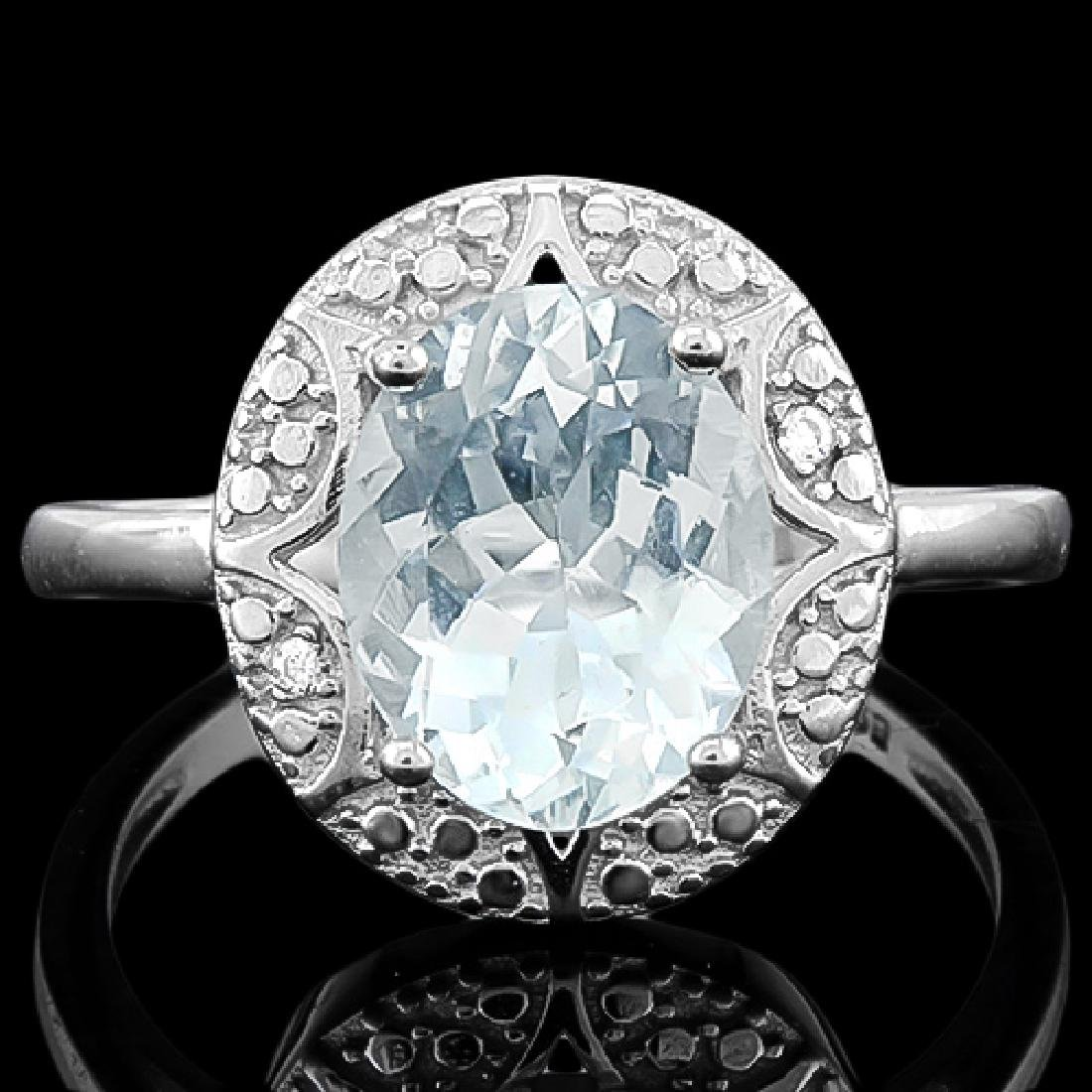 2 1/3 CARAT AQUAMARINE & DIAMOND 925 STERLING SILVER RI