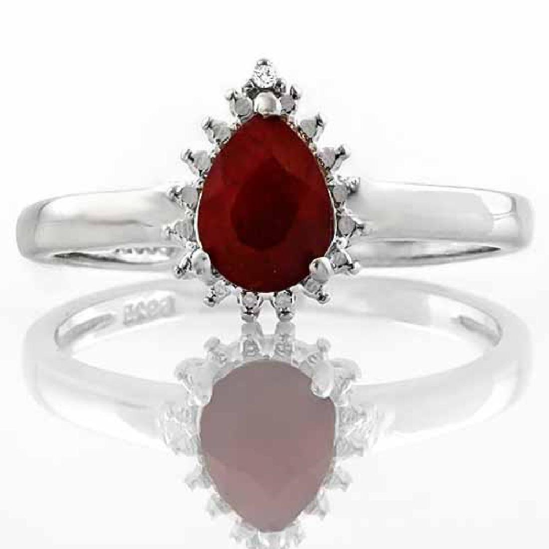 3/4 CARAT GENUINE RUBY & DIAMOND 925 STERLING SILVER RI