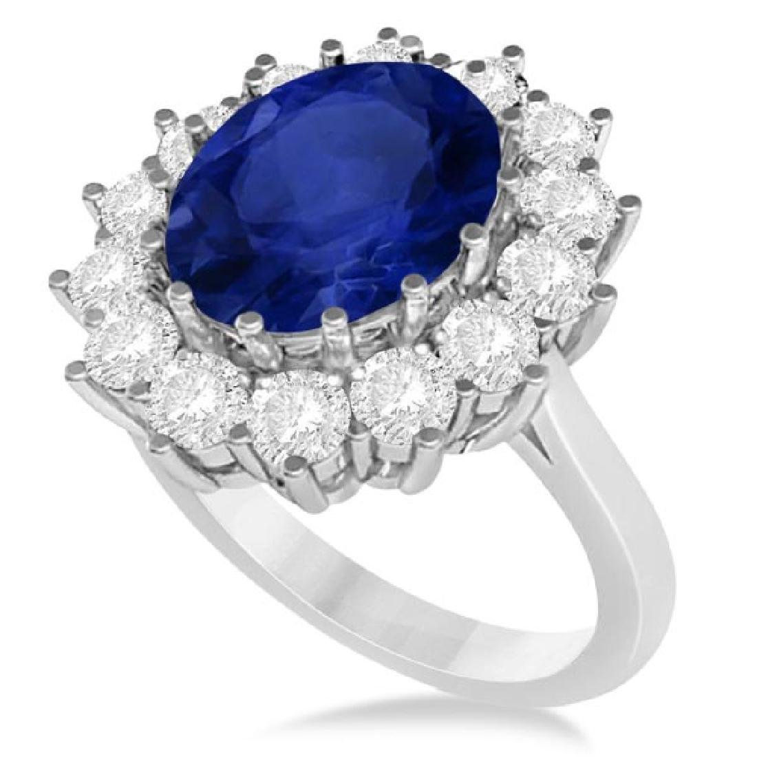 Oval Blue Sapphire and Diamond Accented Ring 14k White