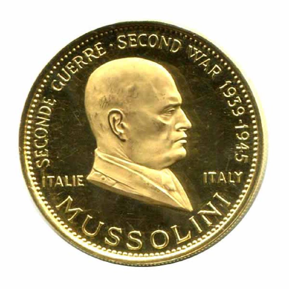 WWII Commemorative Proof Gold Medal 18g. 1958 Mussolini