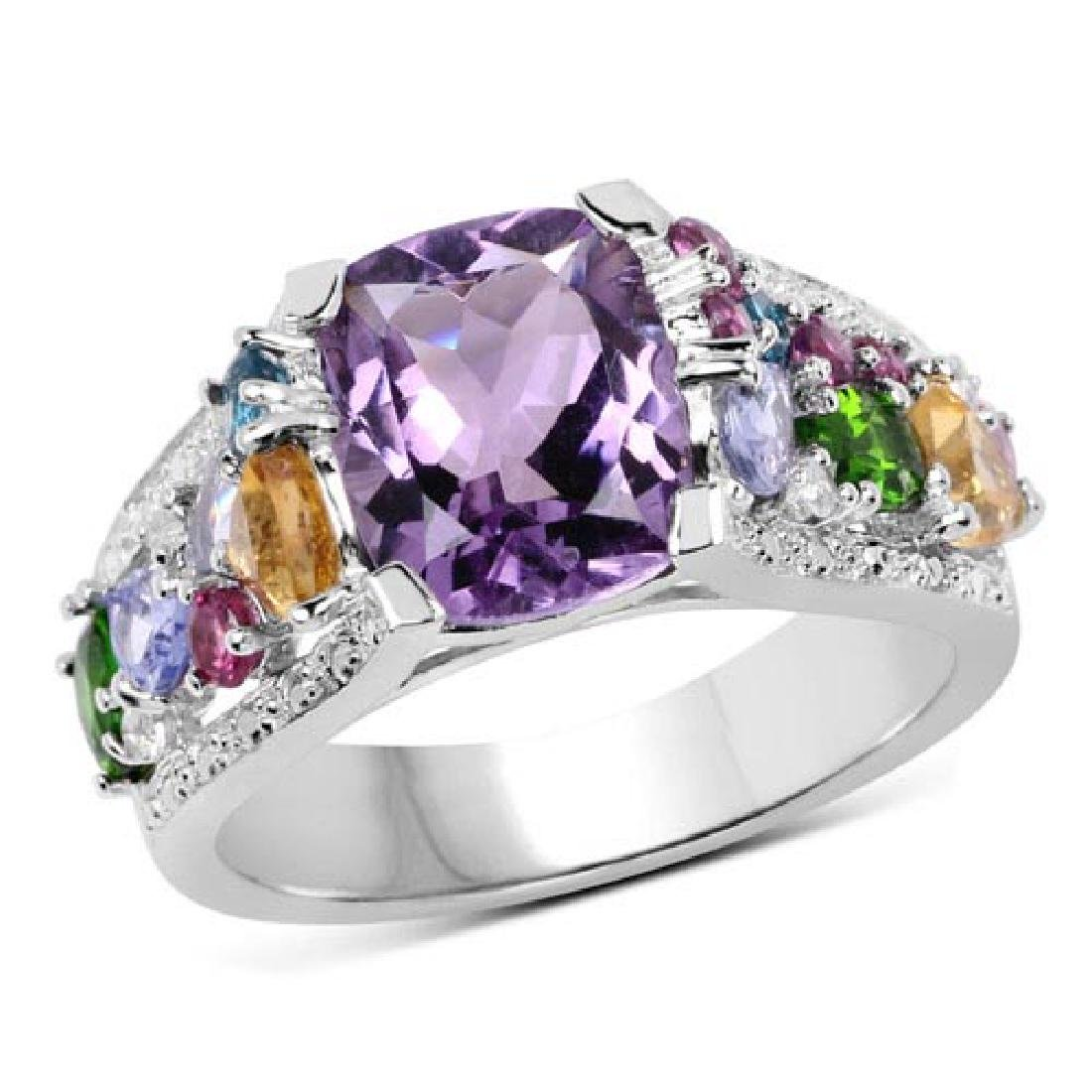 4.44 Carat Genuine Multi Stone .925 Sterling Silver Rin