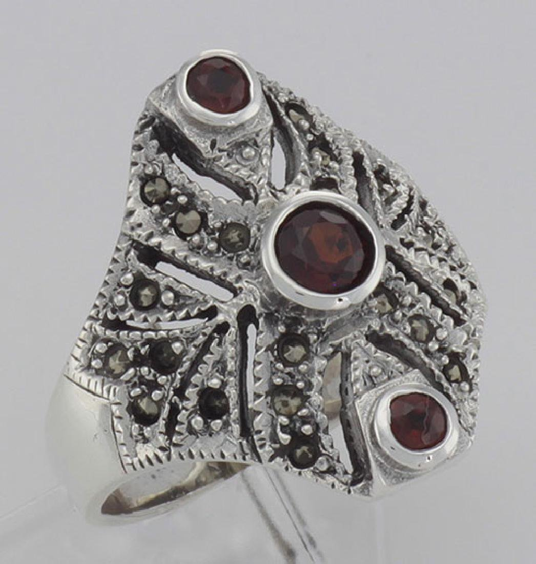 Unique Victorian Style 3 Garnet and Marcasite Ring - St