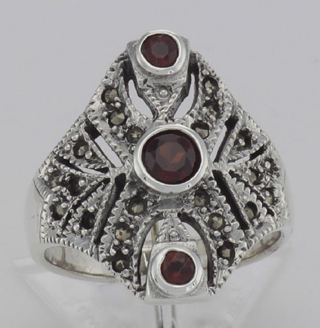 Unique Victorian Style 3 Garnet and Marcasite Ring - St - 2