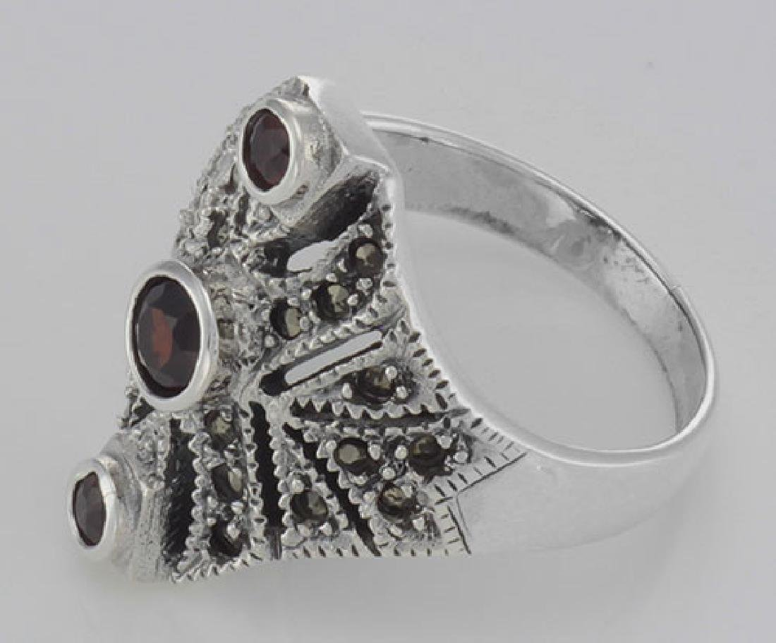 Unique Victorian Style 3 Garnet and Marcasite Ring - St - 3