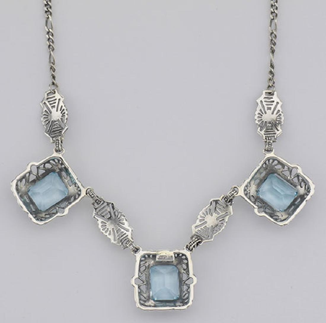 Art Deco Style 3 Gemstone Blue Topaz Filigree 17.5 Inch - 2