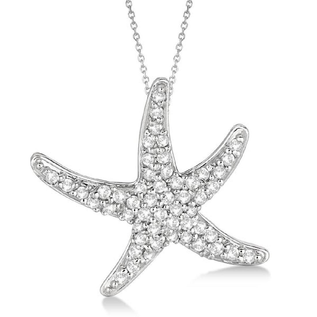 Diamond Starfish Pendant Necklace 14k White Gold (0.55c