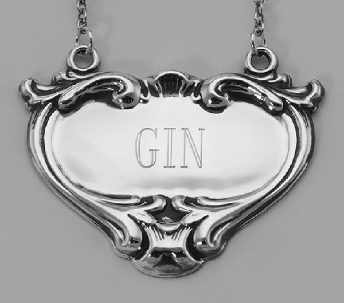 Gin Liquor Decanter Label / Tag - Sterling Silver