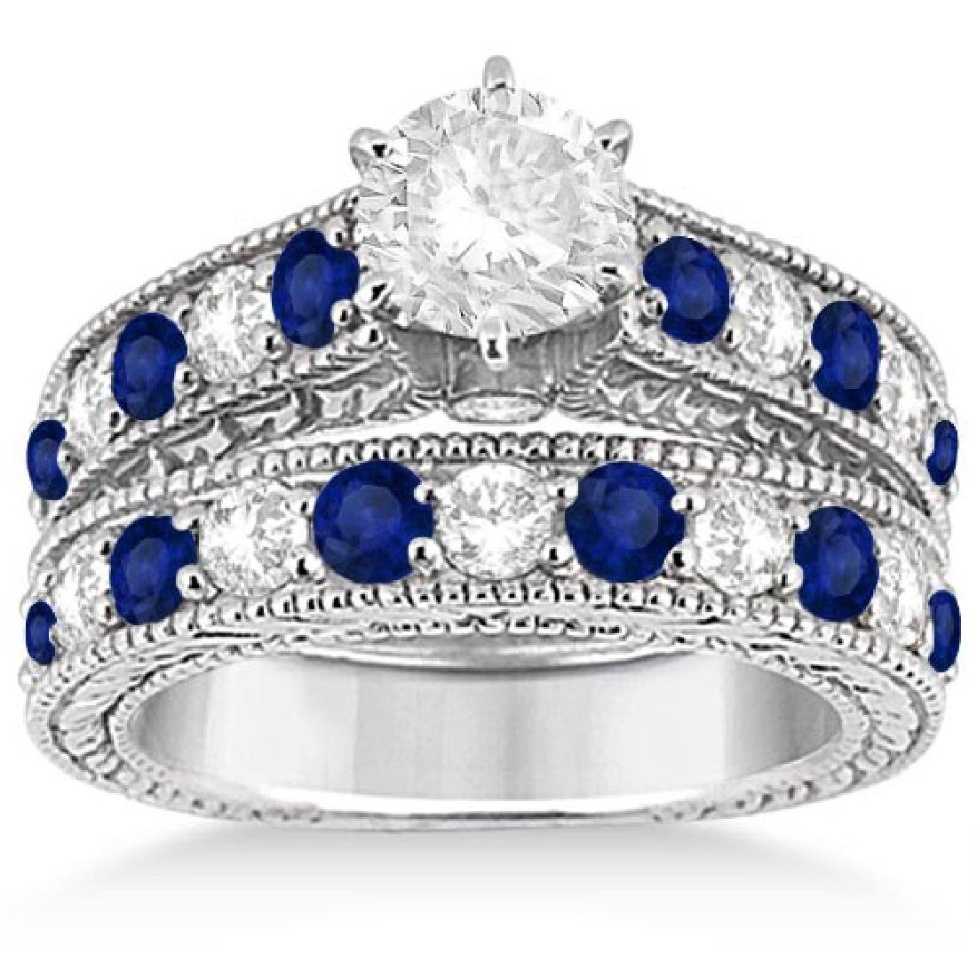 Antique Diamond and Sapphire Bridal Ring Set in Platinu