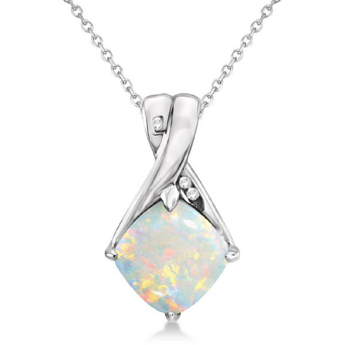 Diamond and Cushion Opal Pendant Necklace 14k White Gol