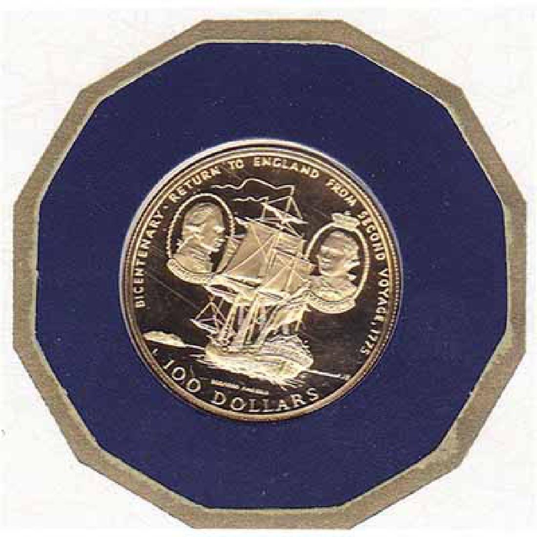 Cook Islands $100 Gold PF 1975 Cook Bicentenary