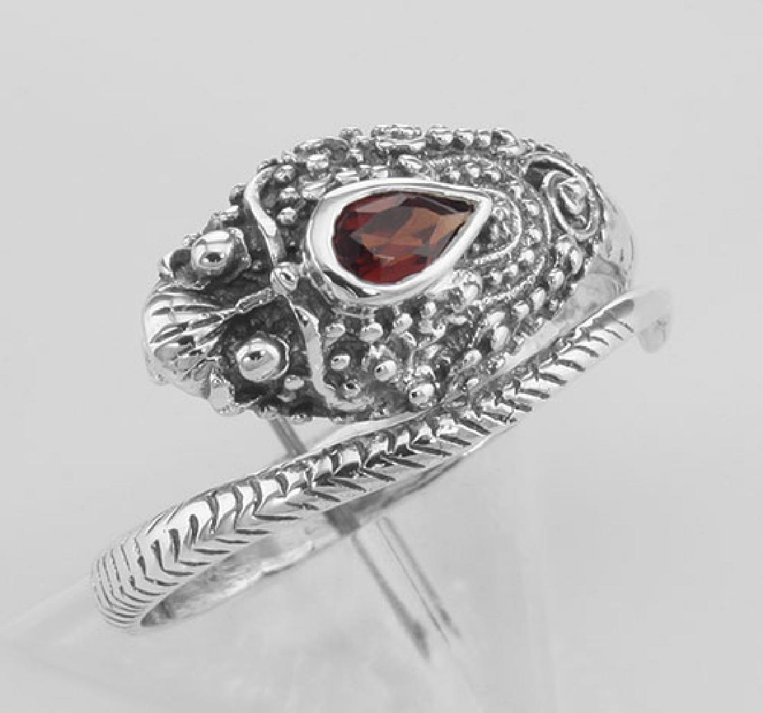 Genuine Red Garnet Cobra Ring - Sterling Silver