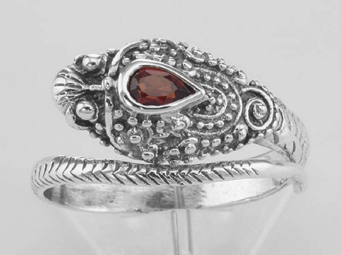Genuine Red Garnet Cobra Ring - Sterling Silver - 2