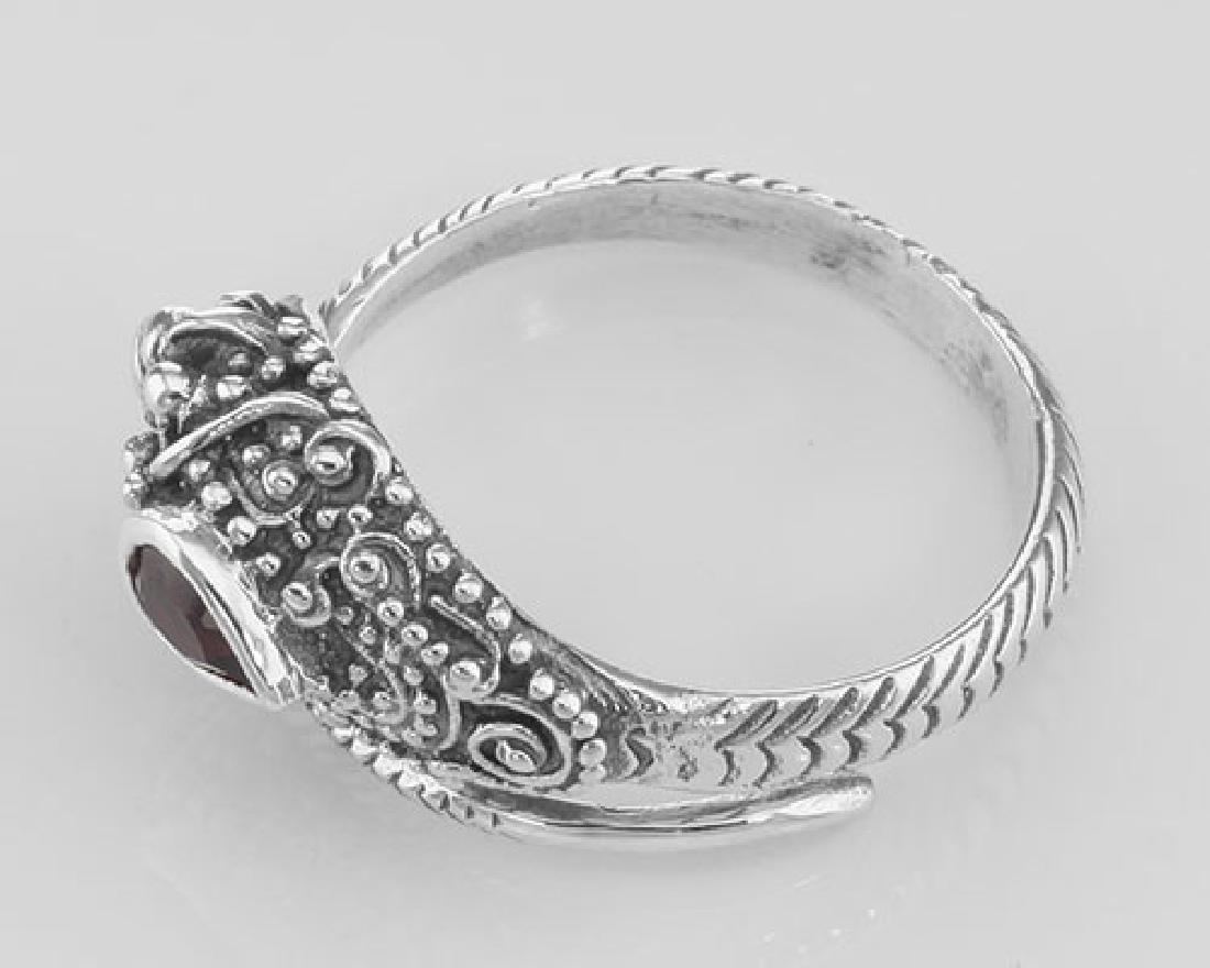 Genuine Red Garnet Cobra Ring - Sterling Silver - 3