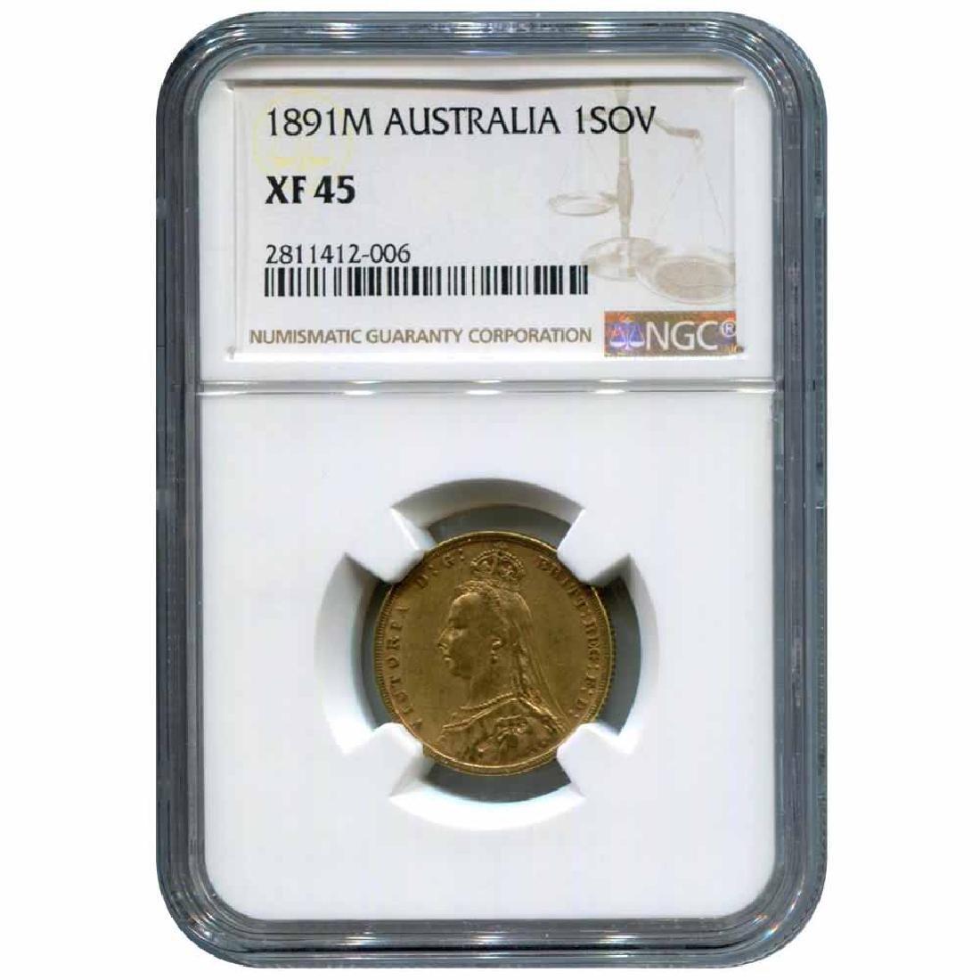Australia gold sovereign 1891M XF45 NGC
