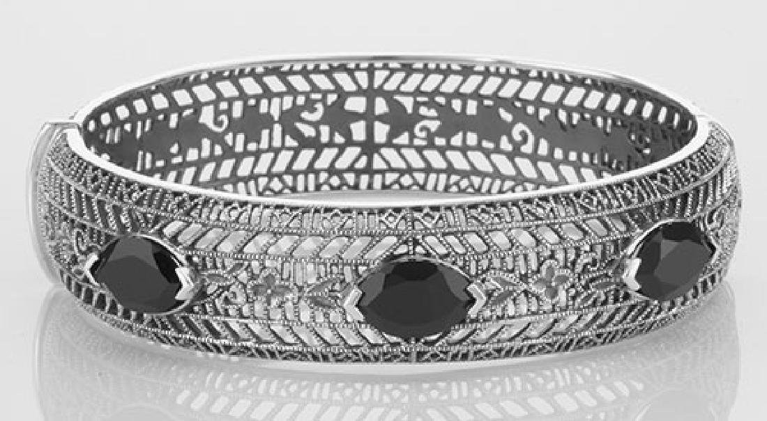 Art Deco Style Filigree Bangle Bracelet Black Oynx Ster