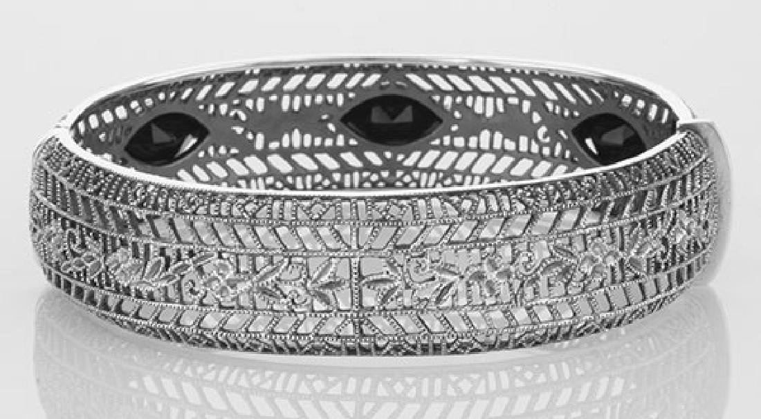 Art Deco Style Filigree Bangle Bracelet Black Oynx Ster - 2