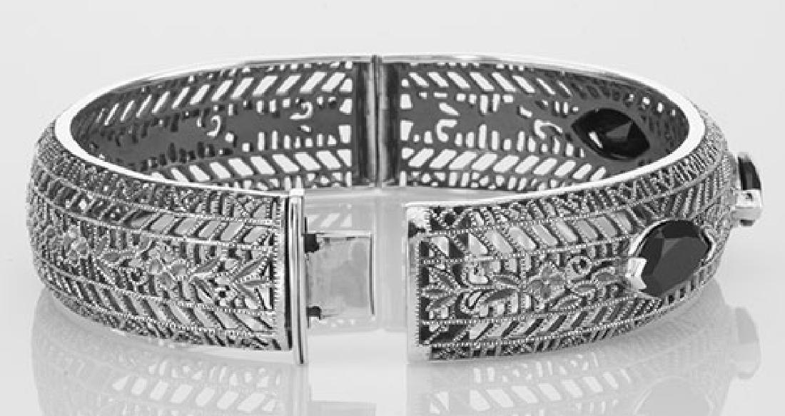 Art Deco Style Filigree Bangle Bracelet Black Oynx Ster - 3