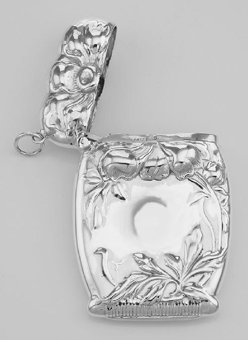 Art Nouveau Style Repousse Floral Match Safe Holder Ves - 3