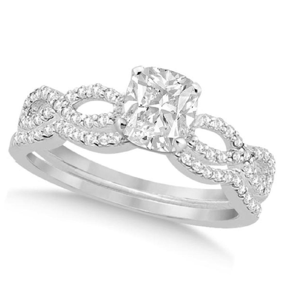 Infinity Cushion-Cut Diamond Bridal Ring Set 14k White