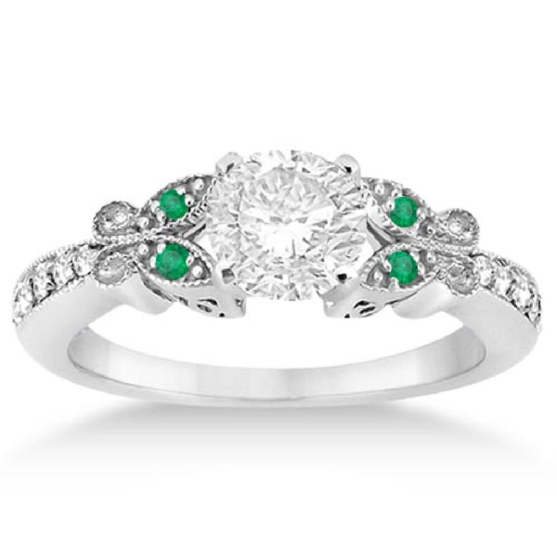 Butterfly Diamond and Emerald Engagement Ring 14k White