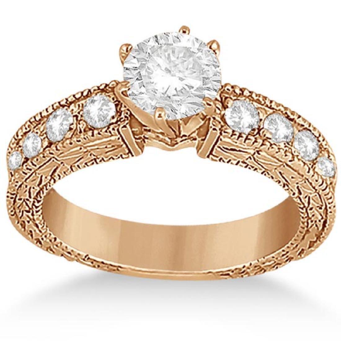 1.50 ctw Antique Style Diamond Engagement Ring 14K Rose