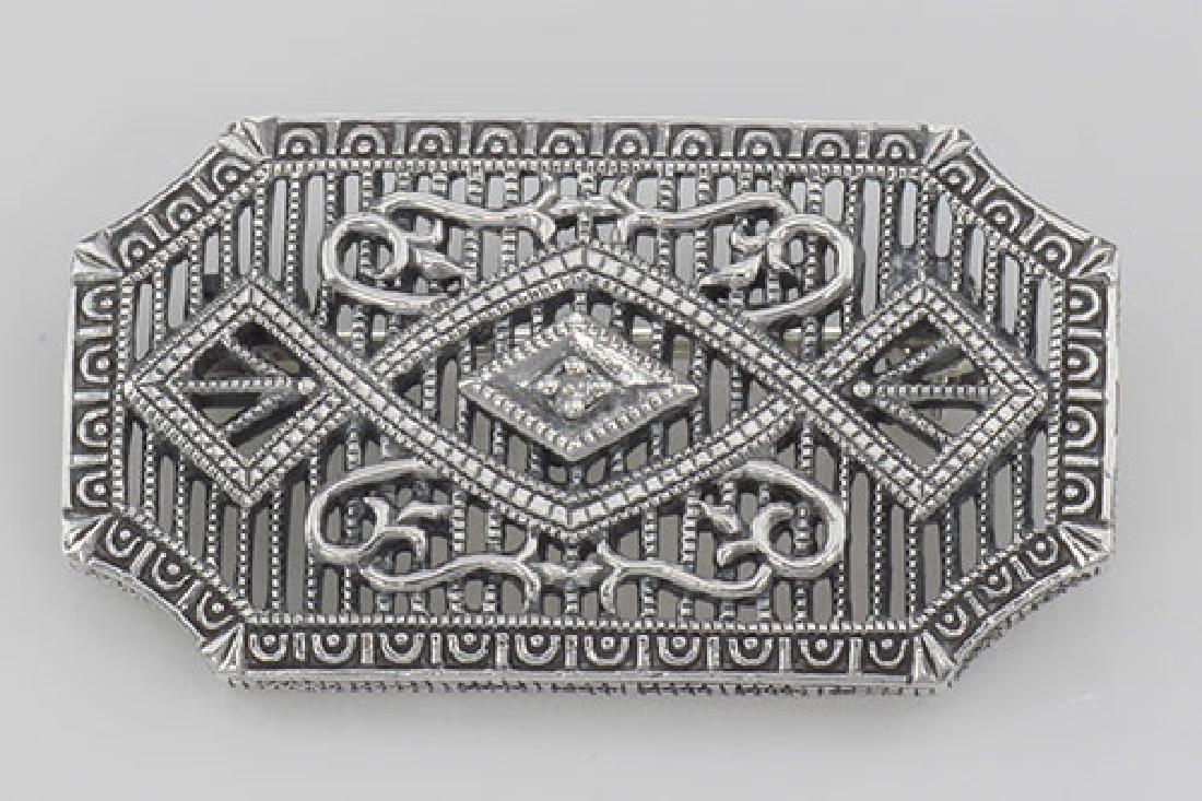 Art Deco Style Filigree Diamond Pin / Brooch - Sterling