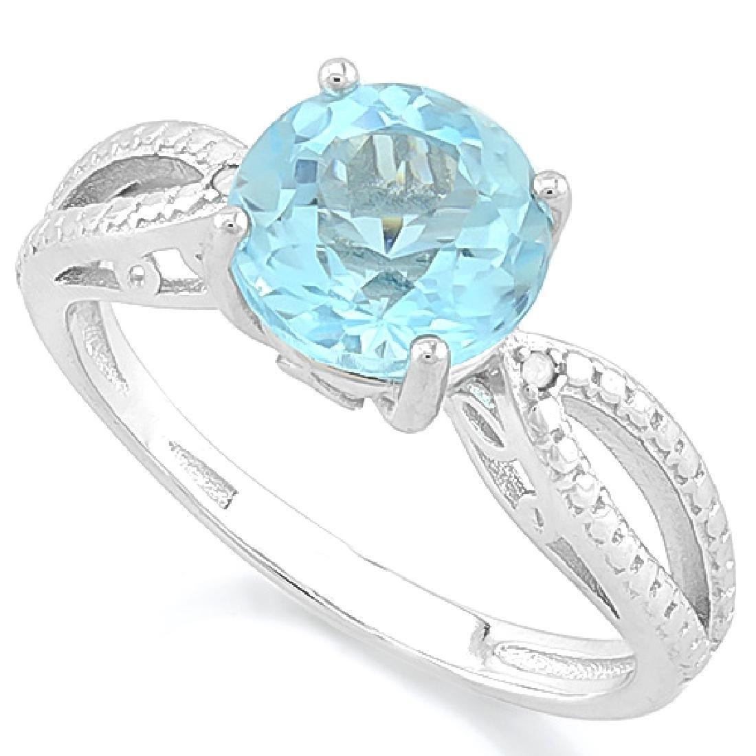 2 1/2 CARAT BABY SWISS BLUE TOPAZ & DIAMOND 925 STERLIN