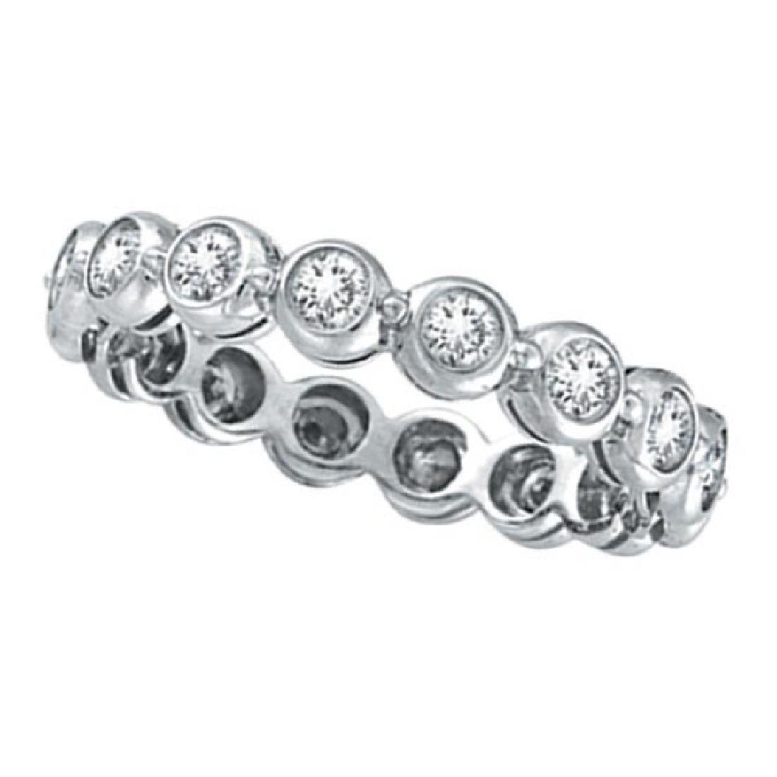 Bezel-Set Diamond Eternity Ring Band 14k White Gold (1.