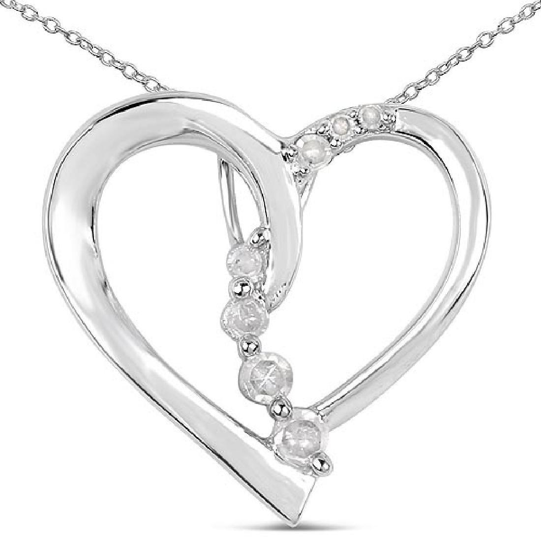 0.10 Carat Genuine White Diamond .925 Sterling Silver P