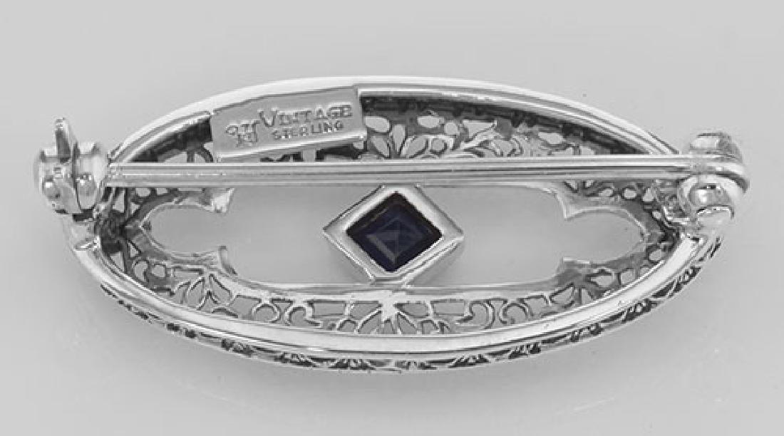 Antique Style Filigree Blue Sapphire Pin / Brooch - Ste - 2