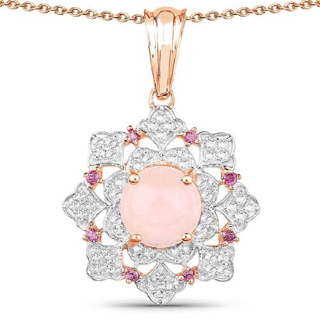 14K Rose Gold Plated 3.72 Carat Genuine Morganite Rhod